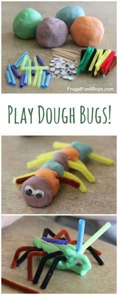 Play Dough Bugs - Make several colors of play dough and put out some loose parts for building bugs. Play Dough Bugs - Make several colors of play dough and put out some loose parts for building bugs. Insect Activities, Playdough Activities, Spring Activities, Preschool Crafts, Toddler Activities, Preschool Activities, Crafts For Kids, Motor Activities, Cutting Activities For Kids