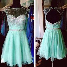 Cute A-Line Sleeveless Backless Beading Prom Dresses 2018 Open Back, 6663918