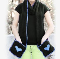 Knitted Blue Heart Scarf with Pockets  SCARVES  by EmofoFashion, $52.00