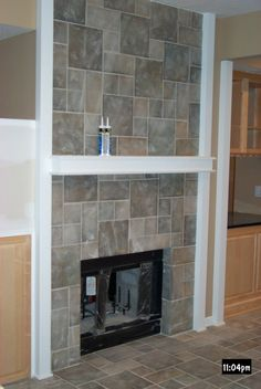 tile+for+fireplace | Tile on kitchen side of fireplace, up center of island and the stairs ...