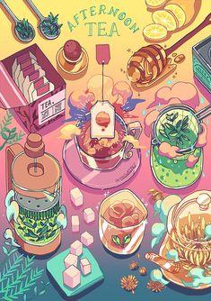 Ugh these food spreads are just too cute. We need a High Tea one Art Kawaii, Arte Do Kawaii, Cute Food Drawings, Cute Kawaii Drawings, Cute Food Art, Cute Art, Animes Wallpapers, Cute Wallpapers, Arte Copic