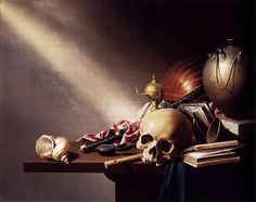 belle-arti:    VanitasStill Lifeby Harmen Steenwijck.  Year: 1645  Type:Oil on panel  Location: National Gallery, London