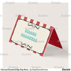 Shop Circus/Carnival Big Top Party PlaceCard/Food Label Place Card created by DigiDameParties. Personalize it with photos & text or purchase as is! Circus Carnival Party, Carnival Themes, Candy Popcorn, Year 6, Big Top, Food Labels, First They Came, Event Planning, Breeze