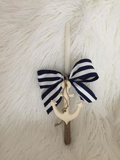 Large Ancor Nautical Easter Candle 17 inch candle decorated with navy and white striped bow with a large Ancor and twine accents. Easter Candle, Orthodox Easter, Twine, Navy And White, Nautical, Buy And Sell, Bows, Candles, Crafts