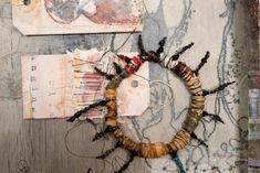c o n n e c t i o n s - d e t a i l by Shelley Rhodes Fine Art Textiles, A Level Textiles, Textiles Sketchbook, Textiles Techniques, Circle Art, Fabric Textures, Leaf Art, Mixed Media Collage, Textile Artists
