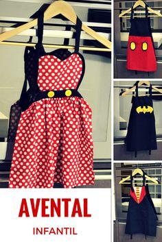 Avental infantil Minnie, Avental Mickey, Avental Batman, Avental Harry Potter e diversos outros modelos de aventais infantis do Meu Avental :)