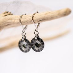 Charcoal Grey Earrings Silver and Grey Dangle by lefrenchgem