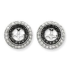 14k Black and White Diamond 1.50ct Circle Earring Jackets Gold