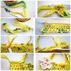 step 2: recycled supermarket bag crocheting