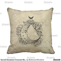 Sacred Geometry Crescent Moon Throw Pillow