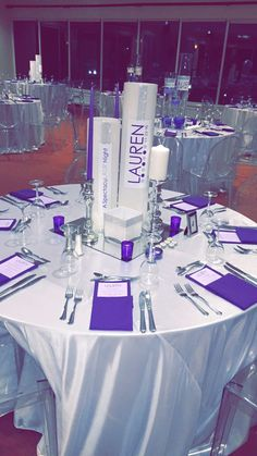 Purple & Silver centerpieces with custom logo & lots of  bling. Custom linens Winter Bat Mitzvah The Event Of A Lifetime, Inc.  Beautiful, Star, Charming, Cute, Elegant, Good-looking, Graceful, Handsome, Lovely, Neat Pleasant, Appealing, Beauteous, Boss, Cheerful, Cher, Comely, Dainty, Darling, Delicate, Delightful, Dreamboat, Eyeful, Fair, Fine, Foxy, Looker, Nice, Picture, Pleasing