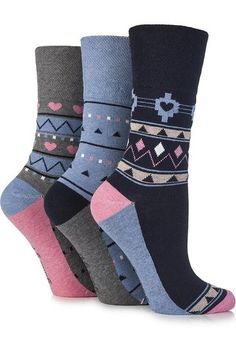 Gentle Grip Ladies 3 Pair Hermione Aztec and Heart Patterned Cotton Socks 4-8 Ladies Black: Amazon.co.uk: Clothing