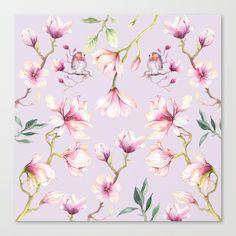 Magnolia & Birds Floral Spring Pattern Canvas Print by goldenredeagle Latest Generation, Magnolia, Decorative Pillows, Canvas Prints, Birds, Stretcher Bars, Spring, Floral, Pattern
