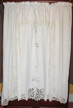 Vtg VICTORIAN CHIC FRENCH COUNTRY Tambour NET FLORAL LACE DRAPES CURTAINS 4 Lot #Unbranded #FrenchCountry