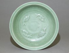 Longquan celadon dish with fish, 13th – 14th century (1201 – 1400), Southern Song Dynasty (1127 – 1279)