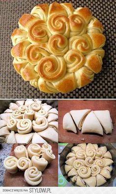 Beyond Challah Braiding: shape challah birds, tree, flowers, crown and roses! Make with fresh puff pastry or leftover scraps. How To: Simplify: Apple Cinnamon Puff Pastry Twists Okay, could n Bread And Pastries, Art Du Pain, Bread Recipes, Cooking Recipes, Bread Art, Bread Shaping, Creative Food, Love Food, Bakery