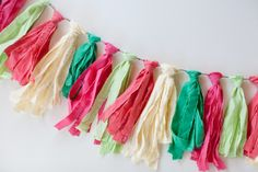 DIY Tassel Garland out of Bright Colored Button Down Shirts Diy Tassel Garland, Tassels, Garlands, Party, Celebrations, Bright, Button, Summer, Shirts