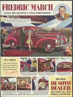 0 Fredric March calls his De Soto a star performer! Ad 1939
