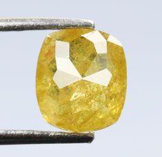 0.79 Ct, 5.6 X 4.9 X 3.0 MM, Cushion Shape Fancy Yellow Color Natural Loose Beautiful Diamond, Fancy Antique Diamond Jewelry, Rings, R672 by RusticDiamondWorld on Etsy