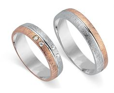 Wedding Rings Bicolor Red Gold & White Gold 8K at myAnelli.com