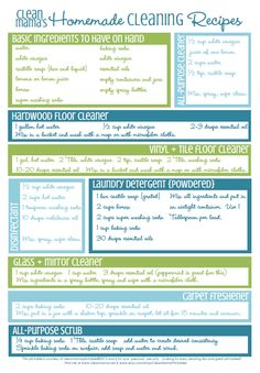 Clean Mama's Homemade and Natural Cleaning  Recipes. Free and Printable at source. All Toxic Free. Be kind to your body & your home.