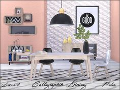 Sims 4 Updates: TSR - Furniture, Dining room : Calligraphik Dining by Pilar, Custom Content Download!