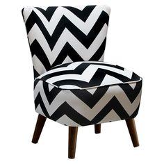 Skyline Custom Upholstered Mid Century Modern Armless Chair, Zig Zag Black/White