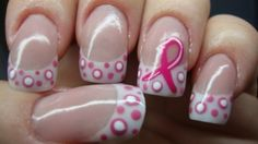 Pink ribbon nails for breast cancer awareness and for your cute nails! Get Nails, Fancy Nails, Love Nails, Hair And Nails, Pink Nails, Gorgeous Nails, Fingernail Designs, Nail Art Designs, Nails Design