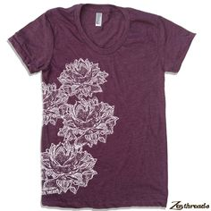 Womens LOTUS Blossoms american apparel S M L XL (17 Colors Available). $18.00, via Etsy.