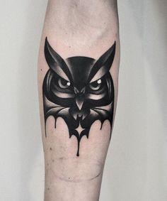 David Cote owl tattoo