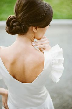 oooh love the detail in the hair of the braid! great hair style for bridesmaid updo!