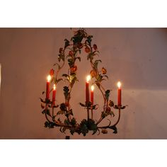 Beautiful antique big French tole chandelier. Flowers and leaves. 5... (€450) ❤ liked on Polyvore featuring home, home decor, leaf home decor and branches home decor