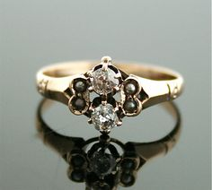Antique Diamond Ring  Rose Gold and Diamond Ring by SITFineJewelry,