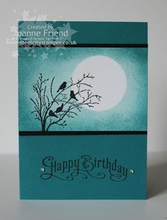 """By Joanne Friend. White glossy cardstock panel: Mask the moon. Sponge the background. Stamp the image in black VersaFine & heat emboss. Uses stamp from """"Serene Silhouettes"""" by Stampin' Up. Mount panel onto black, then onto card base. Stamp sentiment in black & heat emboss."""