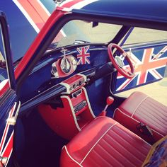 Union Jack all the way! This is a classic Mini and it is exactly how I would want it to look. Minis, Birmingham, Union Flags, British Things, British Invasion, British Style, British Car, Classic Mini, Classic Cars
