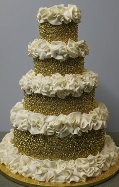 Gold Pearls and Ruffles Cake