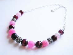 Bali Silver and Semi-Precious Gemstone Beaded Necklace Pink Lace Agate Dragon's Vein Agate Ethnic Boho Gypsy OOAK Pink Agate, Lace Agate, Agate Beads, Silver Beads, Silver Ring, Gypsy Bracelet, Boho Necklace, Gemstone Necklace, Semi Precious Gemstones