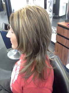 My moms hair I just did.  Highlights cut and style