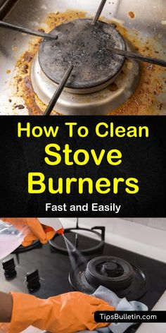 Learn how to clean stove burners quickly and easily with a natural cleaning method. We teach you what works best on glass, electric, and gas stove tops. Cleaning Stove Top Burners, Clean Gas Stove Top, How To Clean Burners, Stove Top Cleaner, Gas Stove Burner, Oven Cleaner, Baking Soda Cleaner, Natural Cleaning Products, Clean House