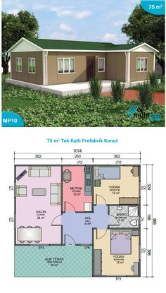 MP10 75m2 + 16m Terrace  2 Bedrooms 1 Bathroom, Lounge, Kitchen, Open Terrace  Hall 6m2 Bedroom 1 15m2 Bedroom 2 12m2 Bathroom 5m2 Kitchen 10m2 Lounge 24m2 Terrace 16m2