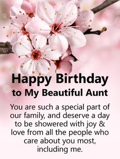 Cherry Blossom Happy Birthday Card for Aunt: This thoughtful birthday card for your aunt features lovely pink flowers, which add to the beauty of your Happy Birthday Aunt From Niece, Happy Birthday Wishes Aunt, Happy Birthday Quotes For Her, Happy Birthday In Heaven, Boyfriend Birthday Quotes, Aunt Birthday, Birthday Quotes For Daughter, Happy Birthday Beautiful, Birthday Wishes Quotes