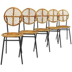 vintage french rattan chairs on black metal base set of five from the 1950s from