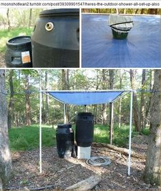 rainwater catchment system... basket thing is there to prevent leaves from clogging the drain... rain barrels are old pickle barrels... from the construction b/log of http://moonshotlean2.tumblr.com/ who is building a tiny house near raleigh, nc, while living in primitive camping facilities... lots of interesting tidbits about his thinking and choices