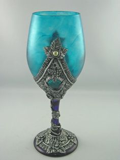 Teal and Amethyst Medieval Style Wine Goblet. $59.28 ea. by Kismet Clay Designs on etsy.