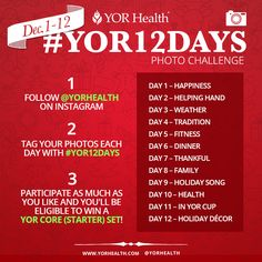 Our #YOR12Days Holiday Instagram Campaign gives you a chance to give back, show your holiday spirit and have fun sharing your #Instagram pictures with the #world! PLUS, during this #December #campaign, we will choose THREE LUCKY WINNERS who will receive a CORE CHALLENGE SET for FREE! (Or equivalent set in your country.)