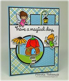 """airbornewife's stamping spot: MOJO439 """"HAVE A MAGICAL DAY"""" card using Lawn Fawn Fairy Friends stamps & dies *W/MEASUREMENTS"""