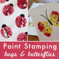 Paint stamping with potatoes or a kitchen sponge tied with an elastic, decorated with a black texta
