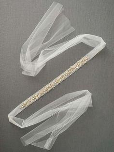 Rhinestone and Tulle Bridal Sash Natural Hair Accessories, Bridal Accessories, Bridal Jewelry, Bride Belt, Baby Girl Birthday Dress, Wedding Belts, Bridal Sash, Fantasy Jewelry, Hair Pieces