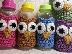 Crochet Owl Baby Bottle Sleeve Cozies