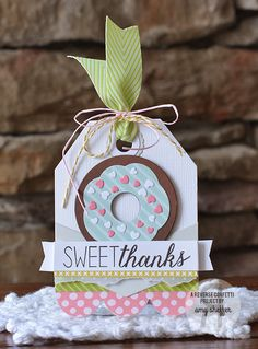 Card by Amy Sheffer. Reverse Confetti stamp set: Donut You Know. Confetti Cuts: Donut You Know, Triple Chevies and Tag Me, Too. Thank you card. Friendship card. Doughnuts.
